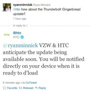 HTC Thunderbolt Gingerbread Update