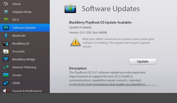 BlackBerry PlayBook 2.0.1.358