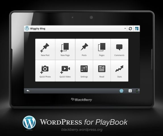 WordPress App on BB Playbook